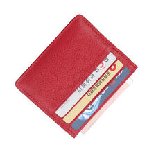 Women Men Leather 6 Card Slots Ultra Thin Small Bus Card Holder Wallet