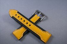 24MM Black WITH Yellow Arrow GENUINE LEATHER Watch Band,Strap HEAVY Solid Bucke