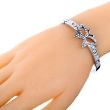 hot Chic Silver Plated Butterfly Crystal Rhinestone Bracelet Bangle Cuff Jewelry