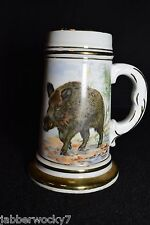 Porcelain German Stein - Wild Boar & Ducks with Naked Lady Lithophane