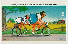 SAUCY POSTCARD - seaside comic, tandem bicycle fat lady BBW Georgie, TROW #C786