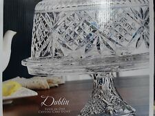 Godinger Dublin Crystal Cake Stand Plate Dome Cover 4-in-1 chips dip salad punc