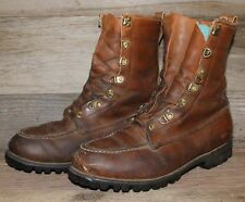 VTG 60s RED WING IRISH SETTER BROWN LEATHER WORK VIBRAM MOC TOE BOOTS sz 9 EE