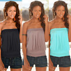 Ladies/Womens Plain Strapless Bandeau Boob Tube Top Tank Vest Blouse T-shirt TEE