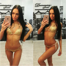 Gold Sequin 2016 Sexy Womens Halterneck 2PCS Bikini Top+Bottom Swimsuit Swimwear