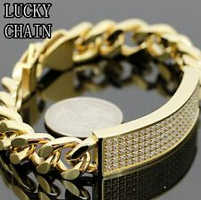 MEN`S STAINLESS STEEL ICED OUT LAB DIAMOND GOLD BRACELET/59g/IB32