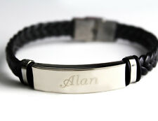 ALAN - Bracelet With Name - Leather Braided Engraved - Gifts For Him