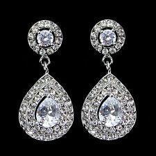 Luxury Twinkling 4cm Long Tear Drop Drip Use Swarovski Crystal CZ Earrings