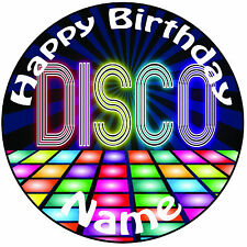 """Personalised Disco Dance Floor Icing Cake Topper - Round  Easy Pre-cut 8"""" (20cm)"""