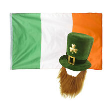 Dark Green St Patrick's Day Fancy Dress Leprechaun Hat / Beard & Ireland Flag