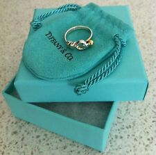 "ORIGINALE ""Tiffany & Co 'Gioielli Argento Sterling & 18ct ORO Knot Ring-Taglia J"