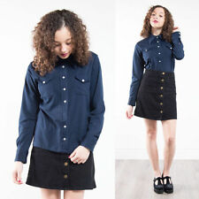 VINTAGE 70'S NAVY BLUE BIG POINTY COLLARED SHIRT BLOUSE MOD RETRO PLAIN 12 14