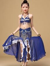 Girls Belly Dance Costume Outfit Top Pants Bollywood Halloween Indian Dance