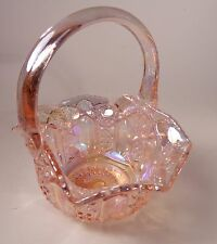 Smith Carnival Glass Iridescent Pink Glass Basket