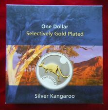 2006 Australia Selectively Gold Plated Coin $1 1oz Silver Proof Kangaroo - RAM