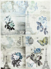 Rice Paper for Decoupage, Scrapbook Sheet, Craft Paper  Blue Paris Small