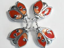 4 - 2 HOLE SLIDER OR CONNECTOR BEAD RED & ORANGE ENAMEL LADY BUG SILVER PLATED
