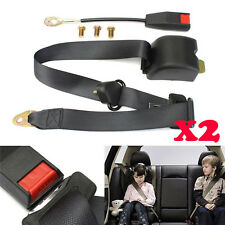 2× Black 3 Point Retractable Seat Belt Carpet Kit Truck Seatbelt for Chevy Ford