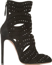 AZZEDINE ALAIA BLACK SUEDE CRYSTAL STUDDED BOOT EU 38 UK 5 US 8