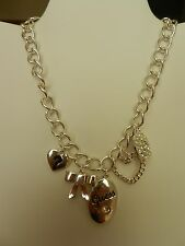 GUESS Silvertone Chain Five Charm Necklace MSRP $32