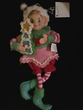 "NEW CHRISTMAS PIXIE ELF 11"" DECORATIVE WIREFRAME DOLL PINK GREEN RED COOKIE"