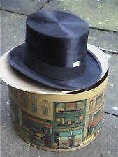 Antique Dobbs & Co Black Silk Top Hat Sz 7½ with Original card box RARE.