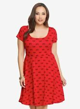TORRID Bicycle Print Red Keyhole Back Soft Knit Skater Dress Plus Size 2X 18-20