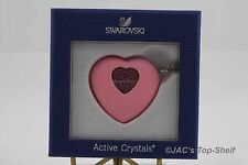 Swarovski Crystal USB Heart, Light Rose Necklace Key #1116973 - NIB
