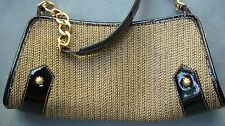 Eric Javits New York Black Patent Leather and Woven Straw Shoulder Bag