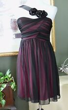 Agaci Sheer Black over Pink One Shoulder Empire Dress M