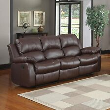 Recliner 3-Seater Sofa Brown Over Stuffed Bonded Leather Sofa
