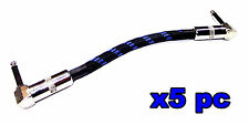 """From OZ Quality 5PC 8"""" Guitar Patch Lead Wire Cable Right Angle Ends + FREE POST"""