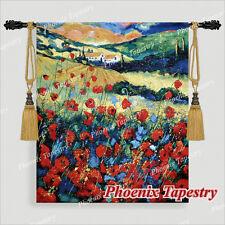 "70 x 80cm,  Gobelin Wandteppich Wandbehang ""rote Mohnblumen"" Baumwolle 100%"