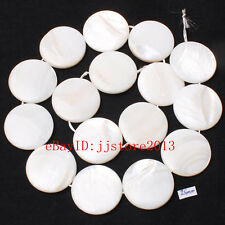 """25mm Pretty White Shell MOP Coin Shape Gemstone Loose Beads Strand 15"""""""