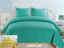 3 Coral Reef Marine Reversible BedSpread Blanket Set Turquoise Blue Yellow Queen