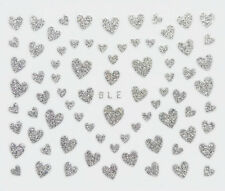 75 Silver Heart Design 3D Nail Art Stickers Decals Manicure for Valentine's Day
