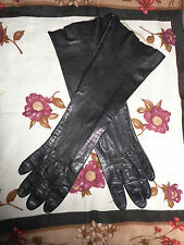 "USA 13"" Long Black Leather Gloves Soapable Grandoe sz 6 washable unlined"