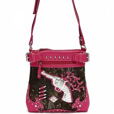 PINK WESTERN GUN BULLETS CAMO BLING RHINESTONE MESSENGER BAG CROSS BODY PURSE