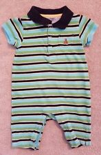 ADORABLE! BABY GAP 0-3 MONTH BLUE & GREEN STRIPED OUTFIT