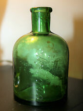 Antique Green Glass Icilma Lotion Cream Bottle 10 cm high