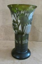 "Tozai Galle Art Glass Landscape Tree satin etched vase green 12"" relief forest"