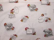 Retro Typewriters Record Players TV Television Phone White Cotton Fabric FQ