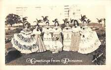 Panama Greetings From pretty young girls in dresses real photo pc Y11943