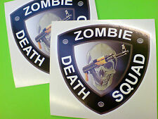 ZOMBIE DEATH SQUAD Car Bumper Stickers Decals 2 off 80mm