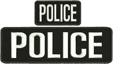 "POLICE embroidery patches 3x10 and 2x4"" velcro on back letters white"