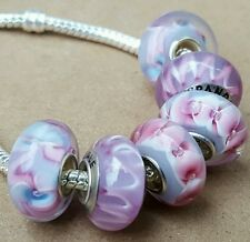 Pink Orchids Lavender Blue Flowers Single Core European Murano Glass Charm Beads