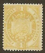 Bolivia Scott# 40, Coat of Arms, Yellow-bister, 1c, Used, but Uncancelled, 1894