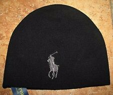 Men's $45. POLO-RALPH LAUREN Black Merino Wool BIG PONY Skull/ Beenie Hat