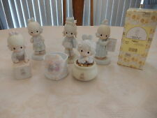 LOT OF 6 - FIVE VINTAGE PRECIOUS MOMENTS FIGURIENES PLUS ONE CANDLE HOLDER