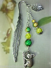 Beaded Bookmark Koala Green & Gold Australian Animals Handmade Silver